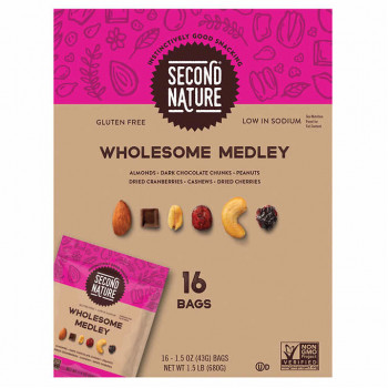 Second Nature Trail Mix, Wholesome Medley, 1.5 oz, 16 unidades