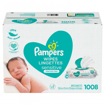 Pampers Baby Wipes, Sensitive Perfume Free, 14 paquetes pop-top (1008 toallitas)